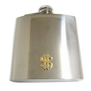 Gold Toned US Dollar Sign 6oz Flask